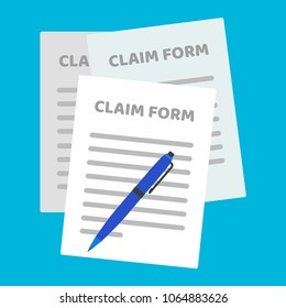 3 paper sheets with claim form to fill out and text on it and pen flat style design isolated on light blue background vector illustration