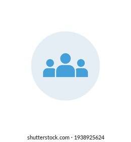 3 people colored icon. Simple flat style. Multi user, circle, group, person, service concept. Crowd sign symbol design. Vector illustration isolated on white background. EPS 10.