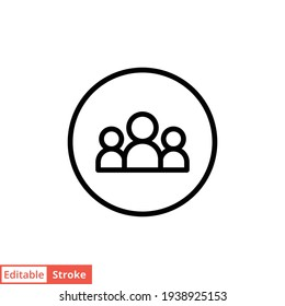 3 people line icon. Simple outline style. Multi user, circle, group, person, service concept.  Crowd sign symbol design. Vector illustration isolated on white background. Editable stroke EPS 10.