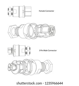 3 Pin connector technical drawing vector