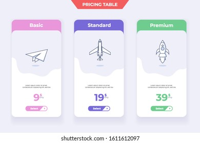 3 Plane Pricing Table Template Design