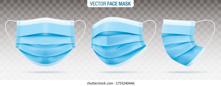 3 ply surgical face masks isolated on a transparent background. Vector set of disposable blue medical masks. Corona virus protection mask with ear loop, in a front, three-quarters, and side views.