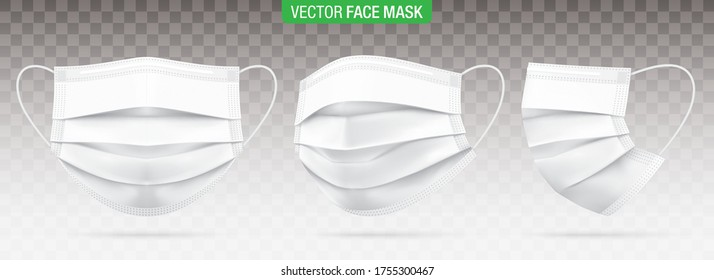 3 ply surgical face masks isolated on a transparent background. Vector set of disposable white medical masks. Corona virus protection mask with ear loop, in a front, three-quarters, and side views.