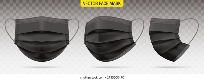 3 ply surgical face masks isolated on a transparent background. Vector set of disposable black medical masks. Corona virus protection mask with ear loop, in a front, three-quarters, and side views.