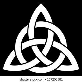 3 point Celtic Trinity knot (Triquetra) interlaced with a circle. Vector illustration.