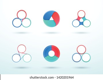 3 Point Connected Circle Cycle Diagram Vector Set