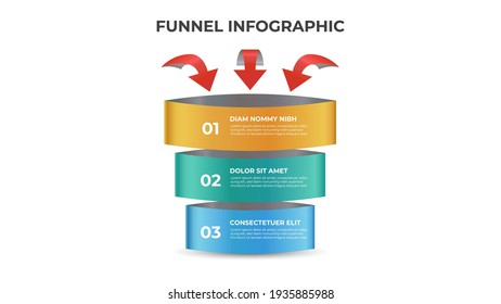 3 points of funnel diagram with arrows, stages and steps infographic template element vector.