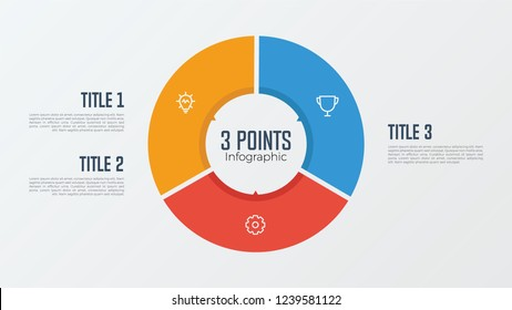 3 points, options, parts, processes, work flowsteps, steps infographic element circle shaped vector. business presentation template.