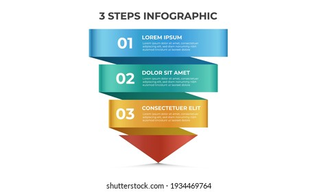 3 points of steps, infographic template, layout design vector with arrow diagram