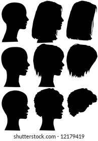 3 profile silhouettes of women & silhouettes of beauty salon hair styles. Long hair, short hair, curly hair. Mix & match elements, each on a layer.