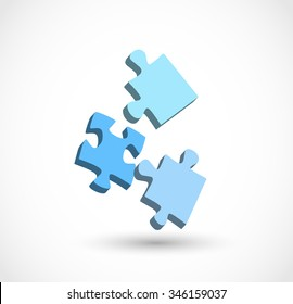 3 puzzle pieces 3d vector