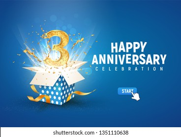 3 rd year anniversary banner with open burst gift box. Template third birthday celebration and abstract text on blue background vector illustration