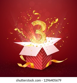 3 rd year number anniversary and open gift box with explosions confetti isolated design element. Template three third birthday celebration on red background vector Illustration.