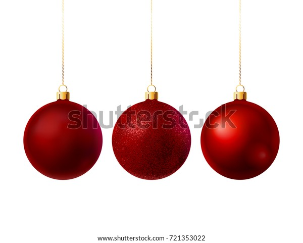 3 red Christmas balls with different textures. Vector illustration