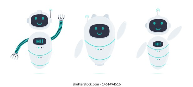 3 robots chatbot icon sign set flat style design vector illustration isolated on white background. Cute AI bots helper mascot character concept symbol business assistant.