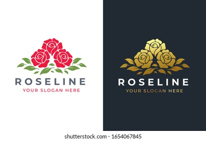 3 rose flower logo design