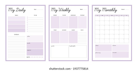 3 Set of minimalist pastel color planners. My Daily, weekly, monthly planner template (Purple). Clear and simple printable to do list. Business organizer page. Paper sheet.