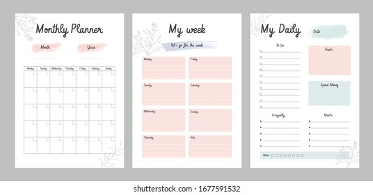 3 Set of minimalist planners. Daily, weekly, monthly planner template.  Cute and simple printable to do list. Business organizer page. Paper sheet. Realistic vector illustration.