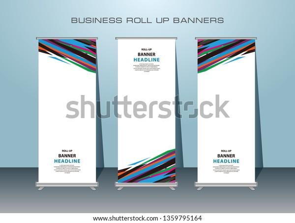 3 Set Roll Banner Design Standing Stock Vector Royalty Free