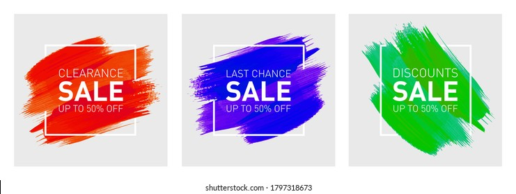 3 sets of Sale Up to 50% off Logo Design Concept, Banner Template, Icon, Poster, Unit, Label, Mnemonic, Greeting Card, Web header with colourful brush strokes and square frame - Vector, illustration