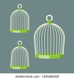 3 Shapes of vector cartoon birdcage.
