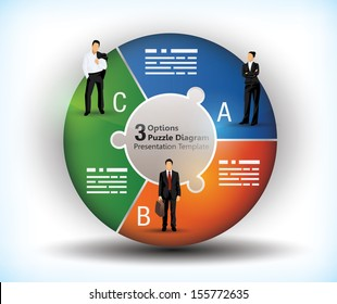 3 sided wheel chart with connected segments and illustration of business people