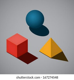 3 simple geometrical shapes in flat style colors