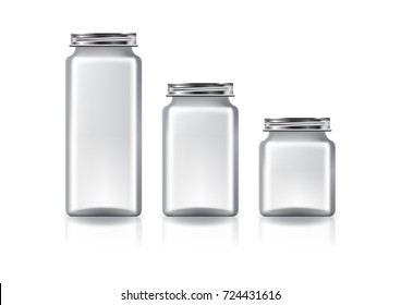 3 sizes of blank clear square jar with silver screw lid for supplements or food product. Isolated on white background with reflection shadow. Ready to use for package design. Vector illustration.