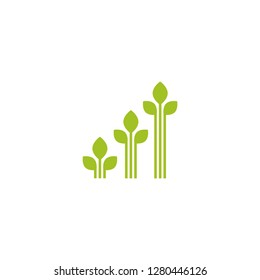 3 sprouts with green leaves. Growing process vector flat icon. Income, money growth, investment metaphor. Isolated on white. Harvest, product, offspring.