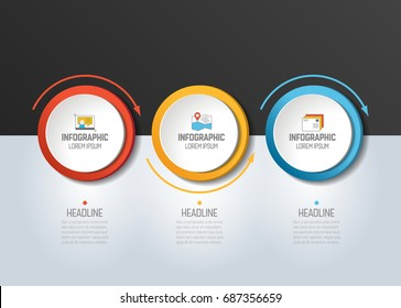3 step Infographic. Circles with arrows. Template, diagram, graph, chart, presentation, infograph.