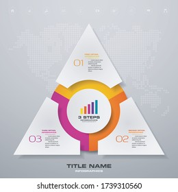 3 steps simple&editable process chart infographics element. EPS 10.