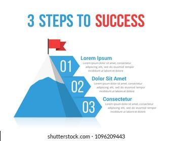 3 Steps to success infographics, leadership or motivation concept, vector eps10 illustration