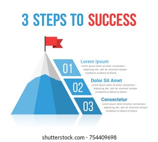 3 Steps to success infographics, leadership, motivation concept, vector eps10 illustration