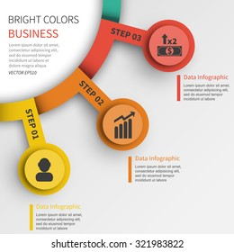 3 steps vector business template presentation page information brochure
