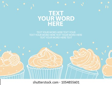 3 styles of cupcakes in white outline and pastel pink plane on blue background and space for text. Poster or background design in vector illustration.