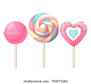 3 sweet realistic lollipops in gentle colors. Vector illustration.