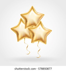 3 Three Gold star balloon on background. Party balloons event design decoration. Balloons isolated in air. Party decorations wedding, birthday, celebration, anniversary, award. Shine Golden balloon