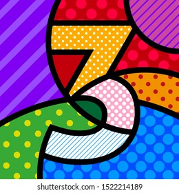 3 three POP ART NUMBER vector colorful modern illustration for your design.  Typography template for flyer, UX design, print, poster, Invitation, happy birthday.  Learning concept for kids.