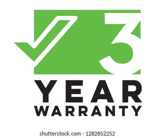 3 three year warranty logo sign symbol green