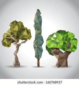 3 trees in origami style