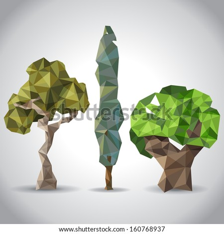 3 Trees Origami Style Stock Vector Royalty Free 160768937