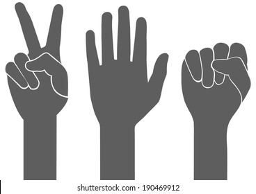3 types of gray hand sign vector on white background