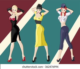 3 vector pin up girls with retro background