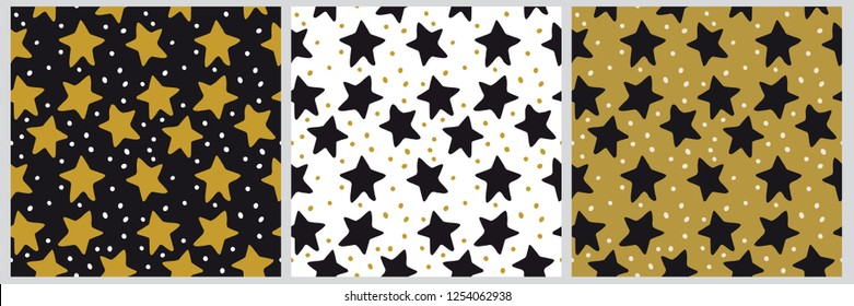3 vector seamless star background pattern