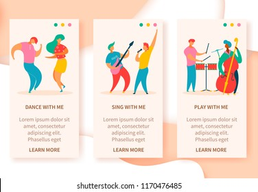 3 vertical web banners of colorful modern flat characters for jazz,rock,blues music fest-singer,musicians,guitar,drums,double bass.Happy people dancing,rejoice,sing,play on musical festival party