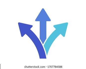 3 way direction icon. 3 way arrows vector icon.  Arrows direction icon.