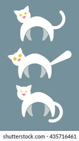 3 White Cat Vector Icons. Alert Cat, Scaredy Cat, Sleepy Cat