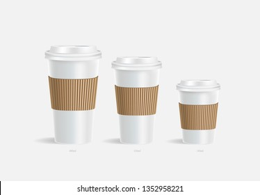 3 White coffee cups mockup with brown holder on grey background. Cups of different size. Mock up. Mock-up. Coffee away. Coffee to go. Vector branding illustration.