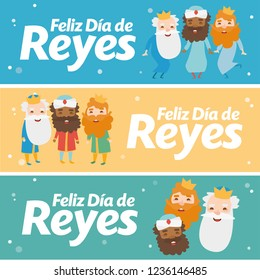 3 wise men different banner. Happy epiphany written in spanish in different colors. The three kings of orient, Melchior, Gaspard and Balthazar. Christmas vectors