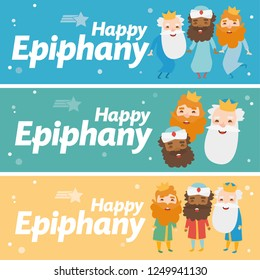 3 wise men different banner. Happy epiphany in different colors. The three kings of orient, Melchior, Gaspard and Balthazar. Christmas vectors